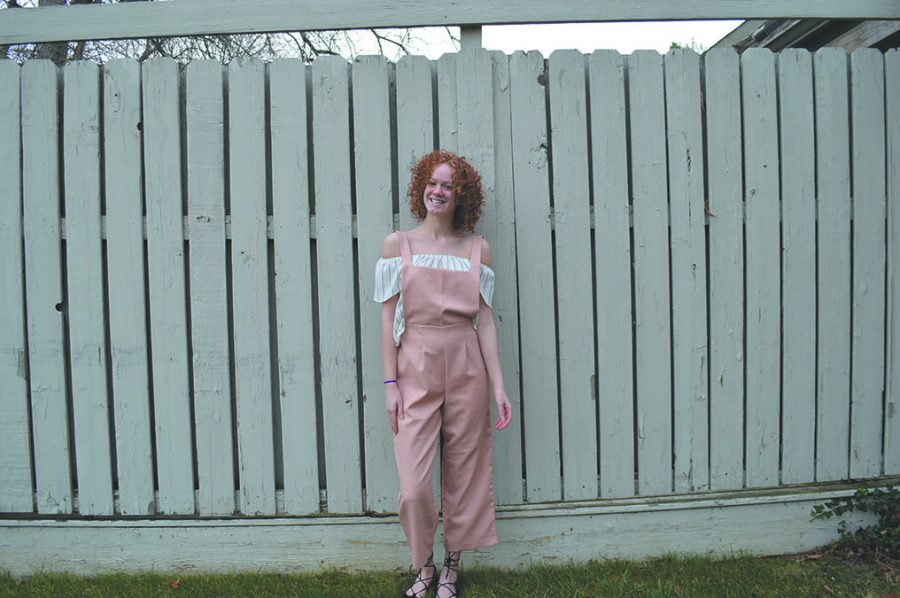 Molly Freeman sports her favorite article of clothing: her pink  overalls. The overalls are from Pomelo Fashion.