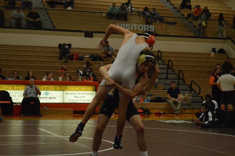 Noblesville wrestler Dalton Huffman at Hamilton Heights.