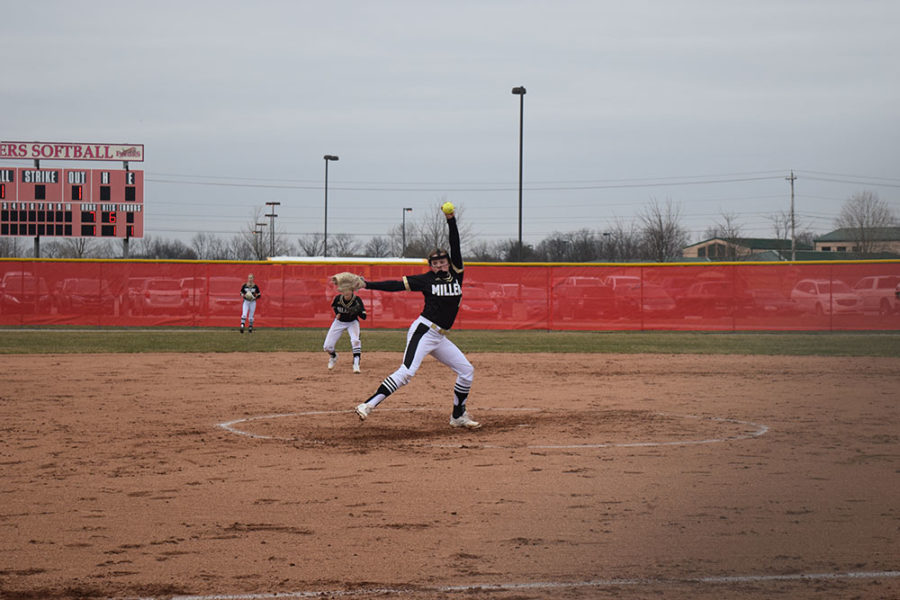 Freshman Madison Taylor pitches for the NHS varsity softball team.
