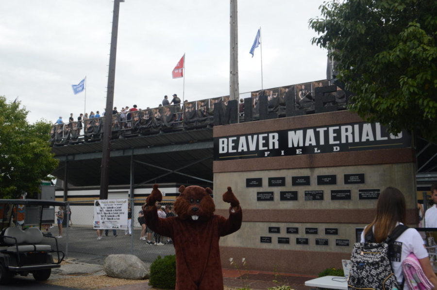 The+Beaver+Materials+mascot+stands+outside+Beaver+Field.+Beaver+Materials+was+founded+in+1947.