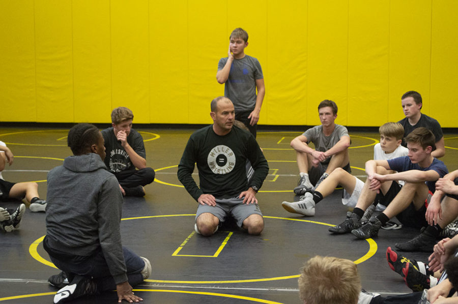Coach+Weimer+dresses+his+team+during+a+wrestling+practice.