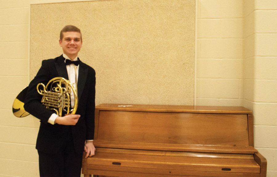 Senior Trevor Zavac at a music department concert.