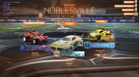 Noblesville's esports team wins a game of Rocket League. Players use fun gamertags to represent their car in the game.