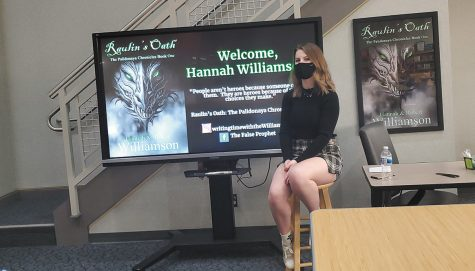 NHS junior Hannah Williamson holds an Author Day at Noblesville East Middle School. She discussed what it was like publishing a book at such a young age.