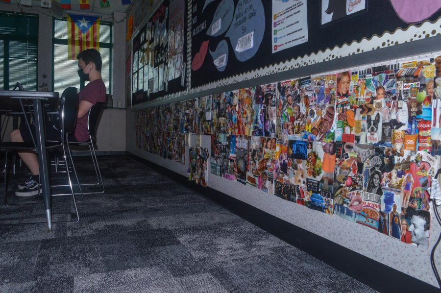 Stephanie Gilbert's room has a collage of pictures in the back from one side to the other